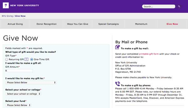 NYU's Give Now form