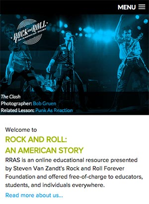 Teachrock website mobile